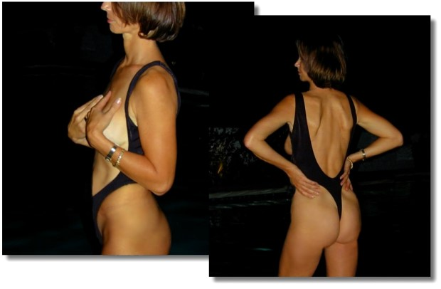 The Monte Carlo, sexy topless one piece thong bathing suit from Brigitewear